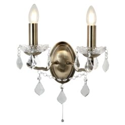 Searchlight 8732-2AB- Paris 2lt Wall Light, Antique Brass/Clear