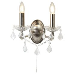 Searchlight 8732-2SS- Paris 2lt Wall Light, Satin Silver/Clear