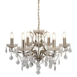 Searchlight 8736-6AB- Paris 6lt Multi Arm Pendant, Antique Brass/Clear