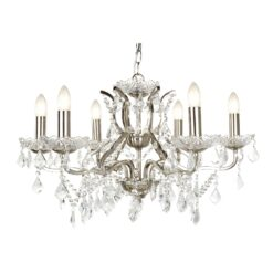 Searchlight 8736-6SS- Paris 6lt Multi Arm Pendant, Satin Silver/Clear