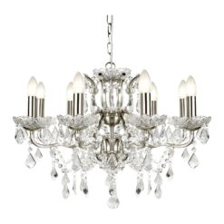 Searchlight 8738-8SS- Paris 8lt Multi Arm Pendant, Satin Silver/Clear