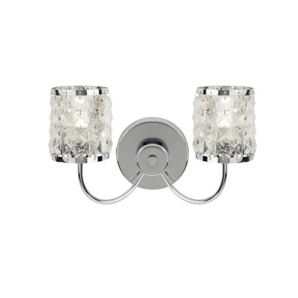Searchlight 8782-2CC- Royal 2lt Wall Light, Chrome/Clear