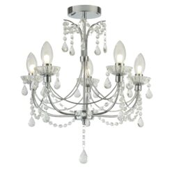 Searchlight 9037-5CC- Autumn 5lt Multi Arm Pendant, Chrome/Clear