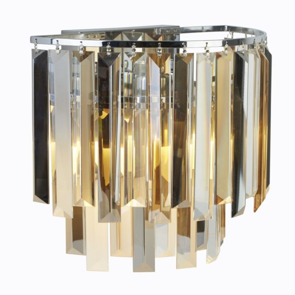 Searchlight 9832-2CC- Clarissa 2lt Wall Light, Chrome/ClearAmber/Smoked