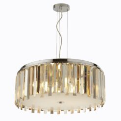 Searchlight 9835-5CC- Clarissa 5lt Single Pendant, Chrome/Clear/Smoked/Amber/White