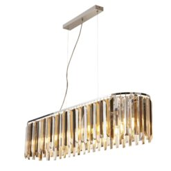 Searchlight 9838-8CC- Clarissa 8lt Bar Pendant, Chrome/Clear/Smoked/Amber